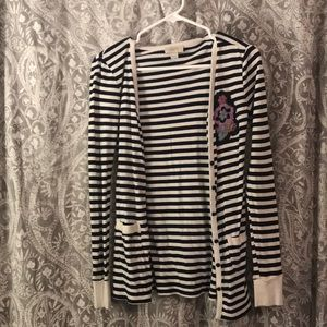 Loft striped navy cardigan